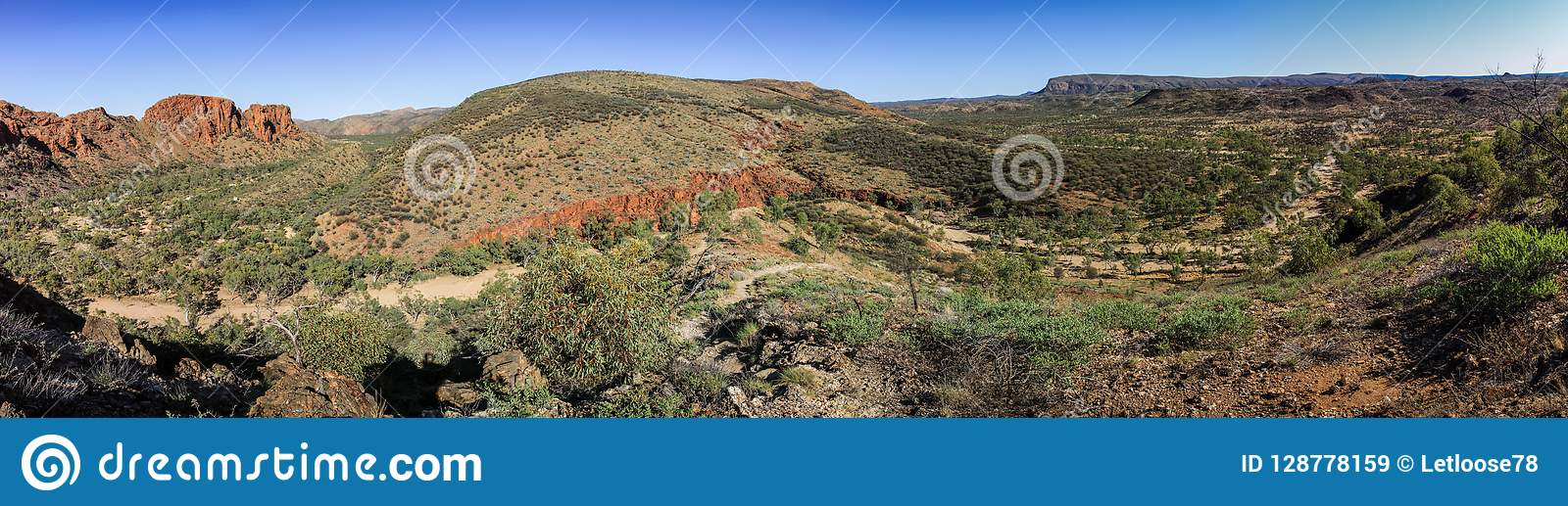 Panoramic view on The sheer quartzite cliffs at Trephina Gorge, East MacDonnell Ranges, Northern Territory, Australia