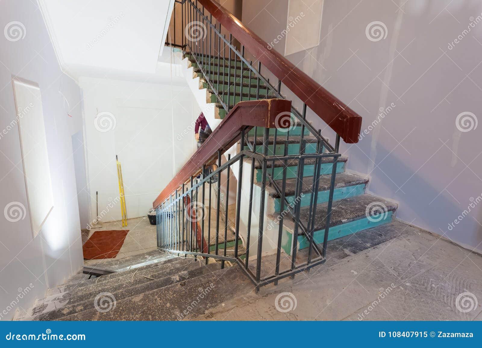 Treppe Mit Holzernen Gelanderdocken Ist Das Teil Des