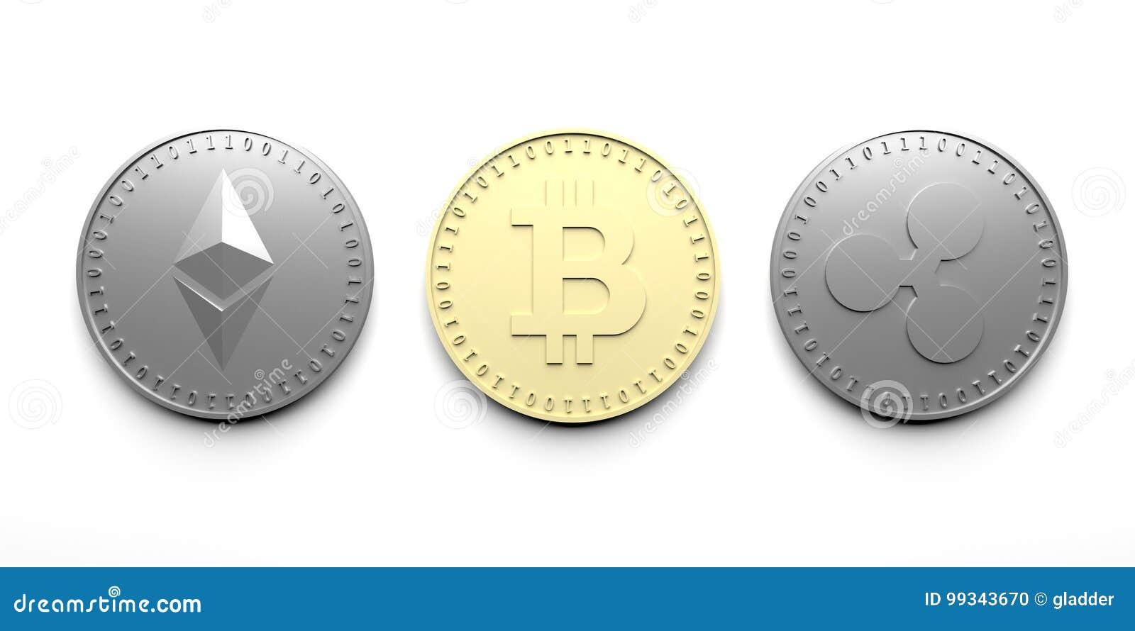 Tres aislaron monedas en un fondo blanco - Bitcoin, Ethereum, ondulación, representación 3D
