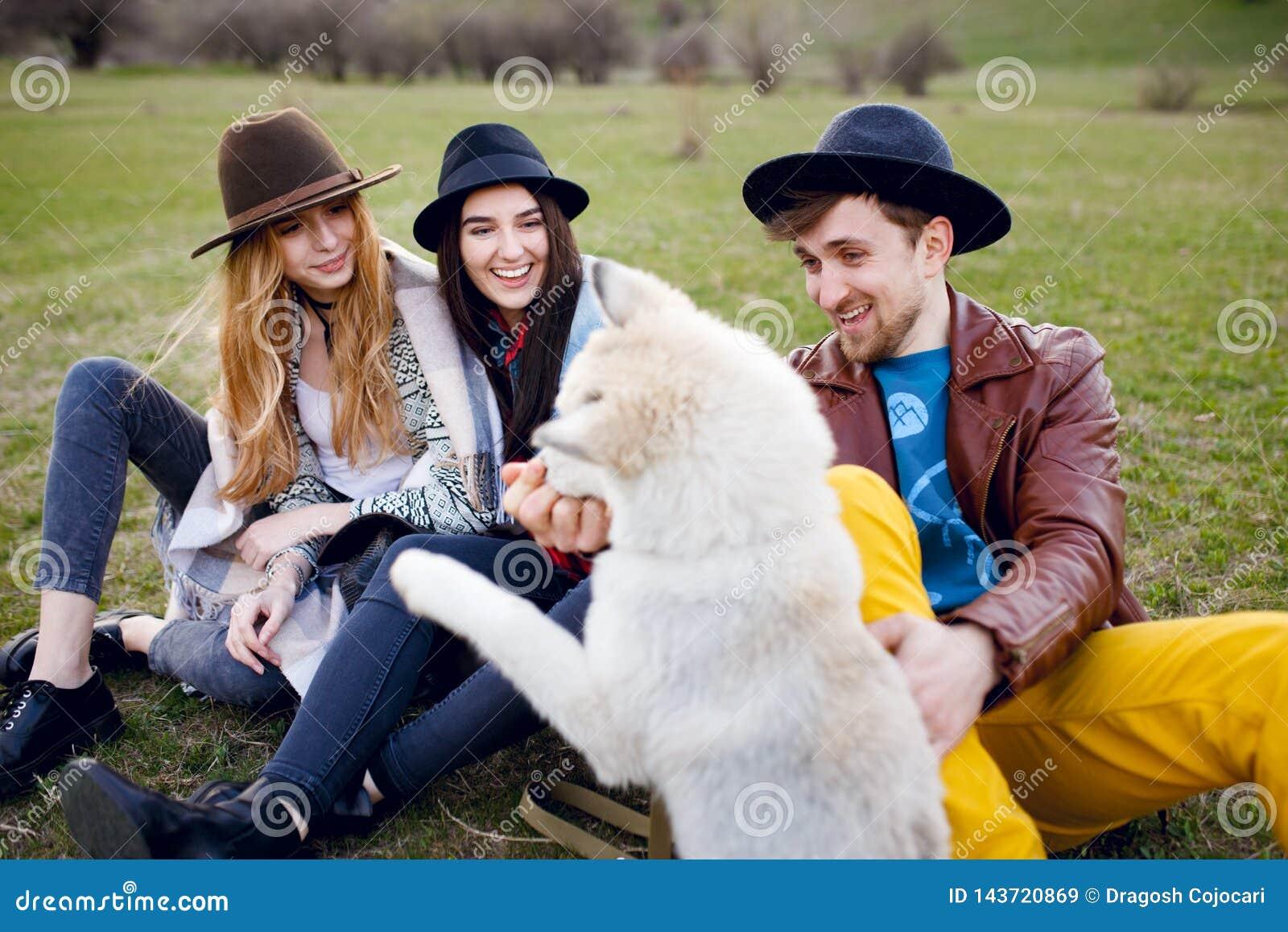 Tres amigos elegantes jovenes hermosos pasan tiempo al aire libre así como su perro fornido que se sienta en hierba verde