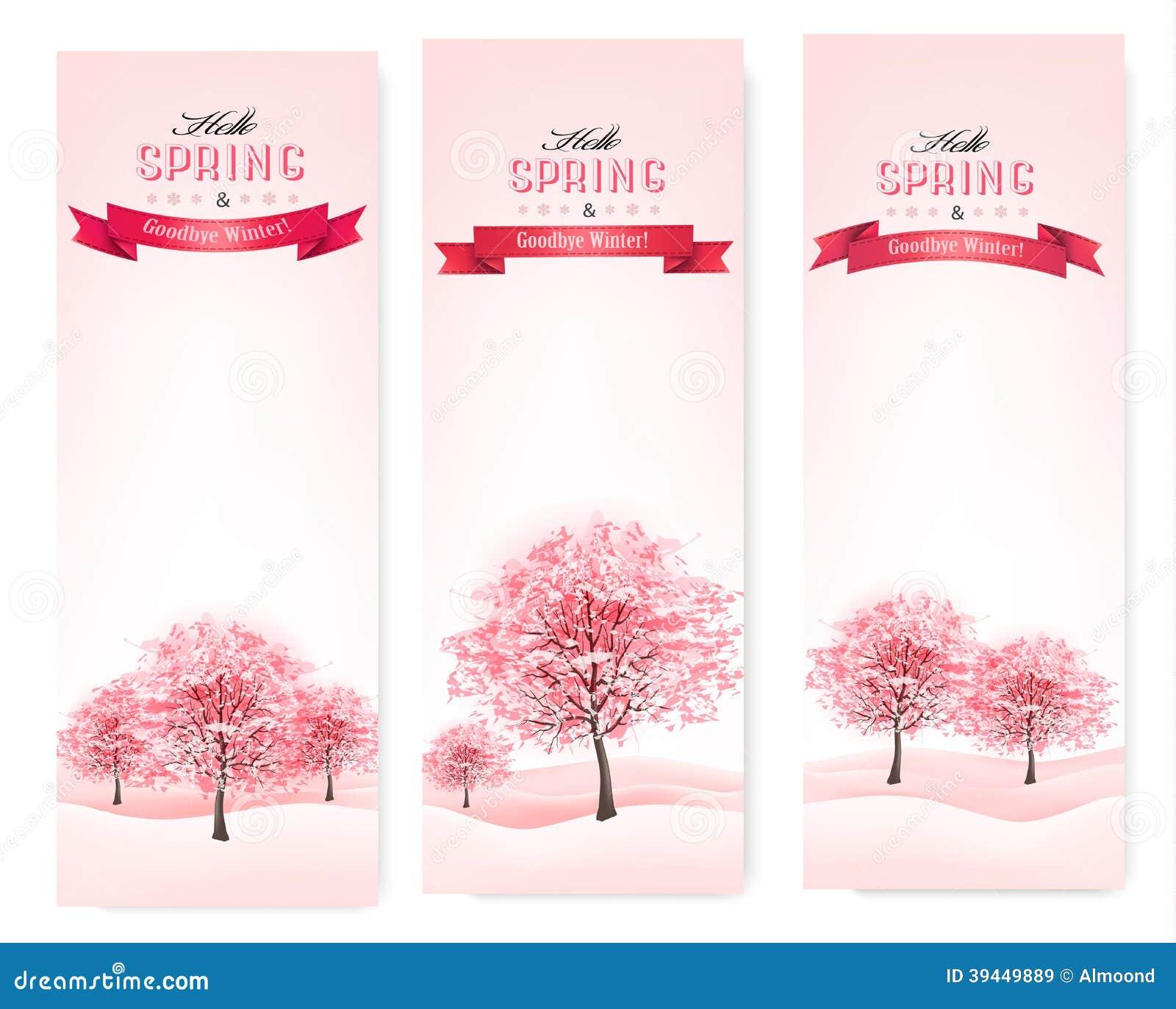 Tres banderas de la primavera con los árboles florecientes de Sakura.