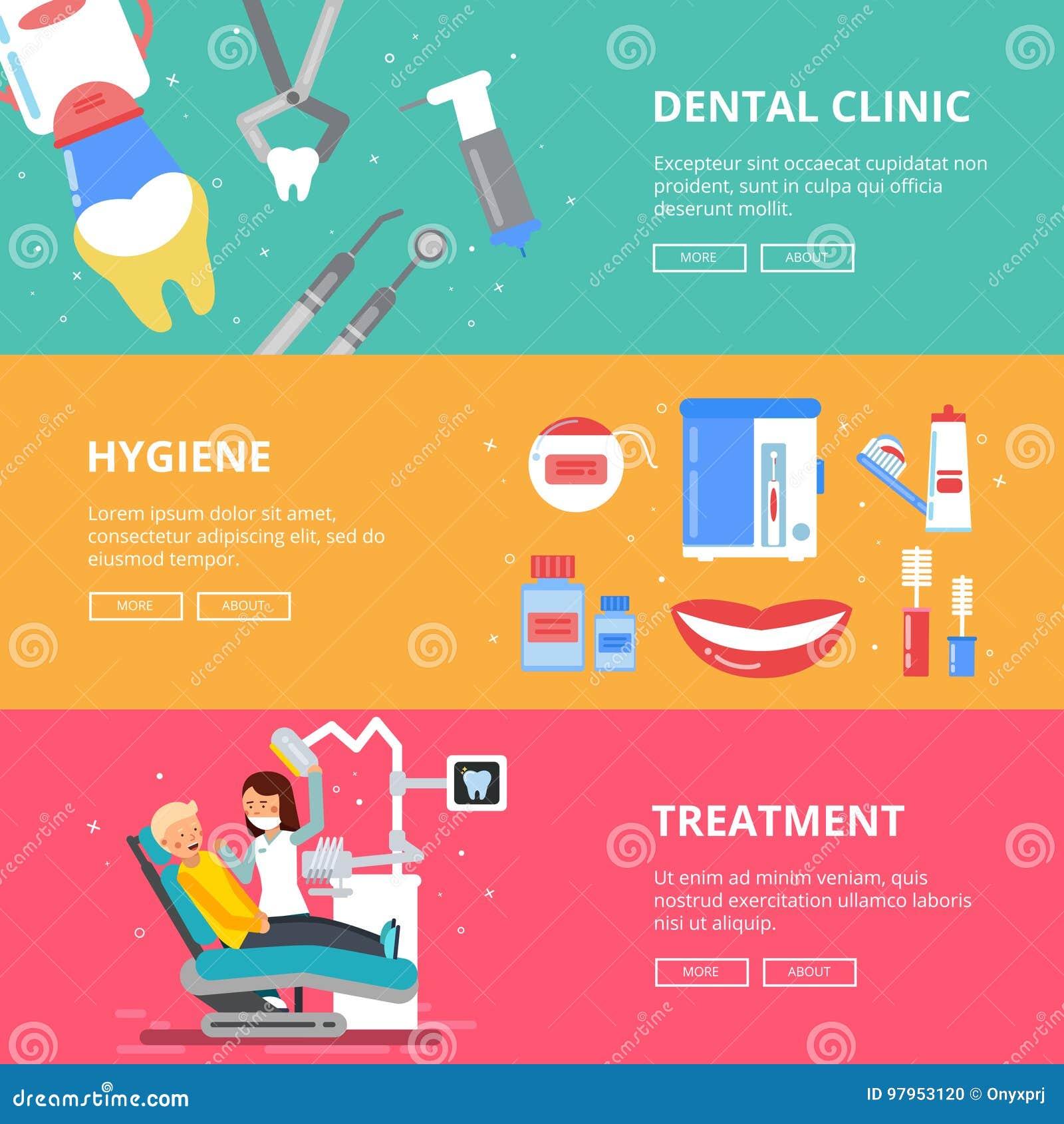 Tres banderas horizontales de concepto de la medicina Imágenes dentales de los dientes de la perforación Accesorios médicos del d