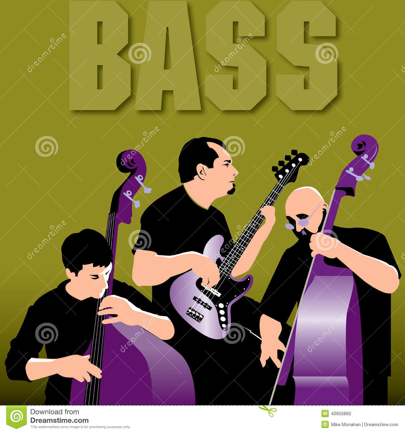 Tres Bass Players Laying Down un surco
