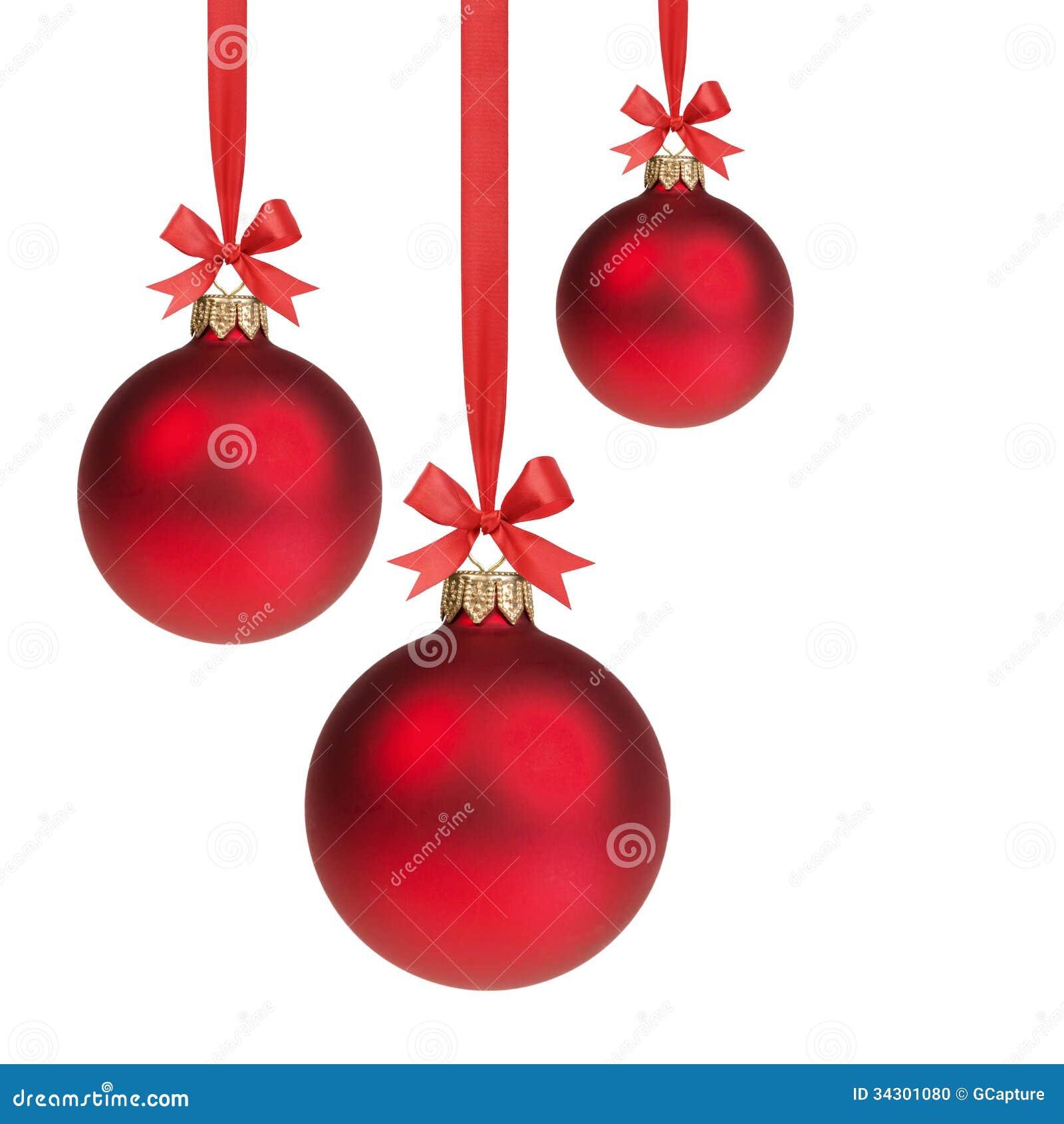 Tres bolas rojas de la navidad que cuelgan en cinta con - Bolas de navidad ...
