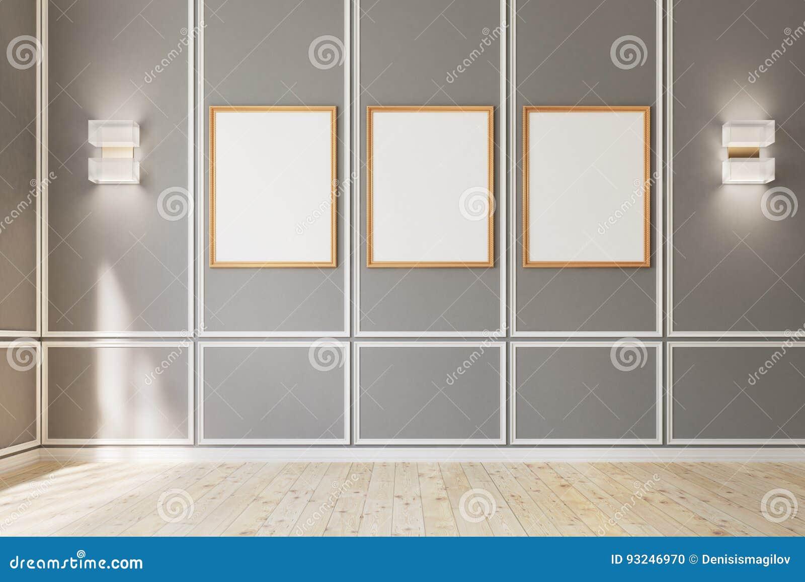 Tres Carteles Enmarcados En La Pared Gris Stock de ilustración ...