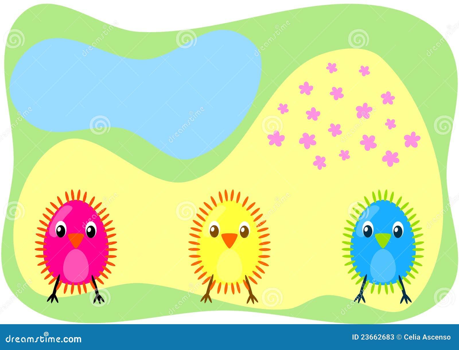 Tres chiks en una tarjeta del campo