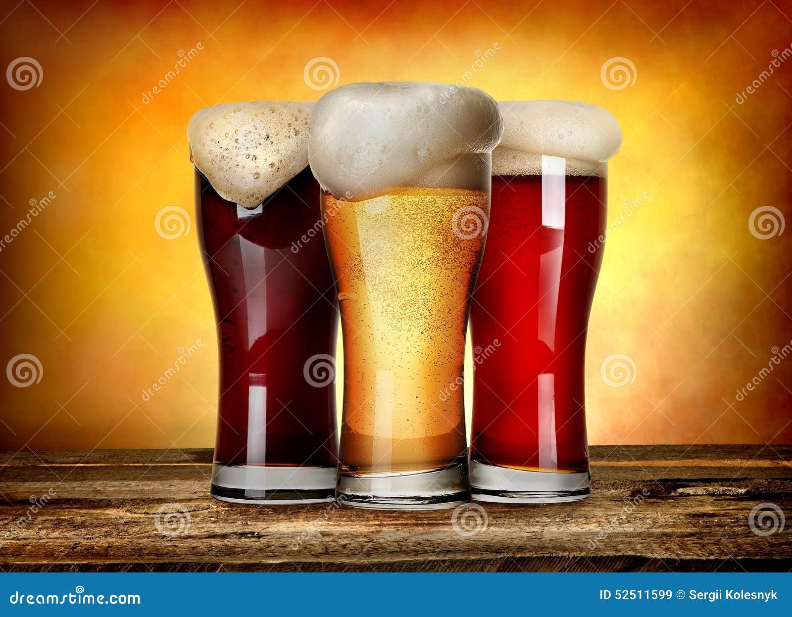 Tres clases de cerveza