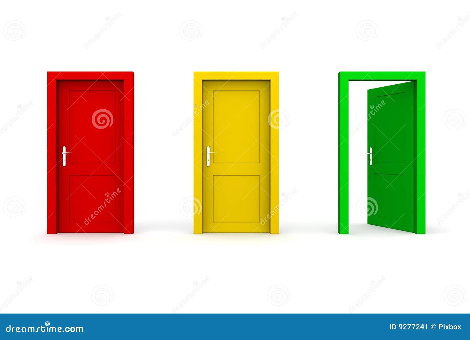 Tres colorearon las puertas verde abierto imagen de for Idealista puertas verdes