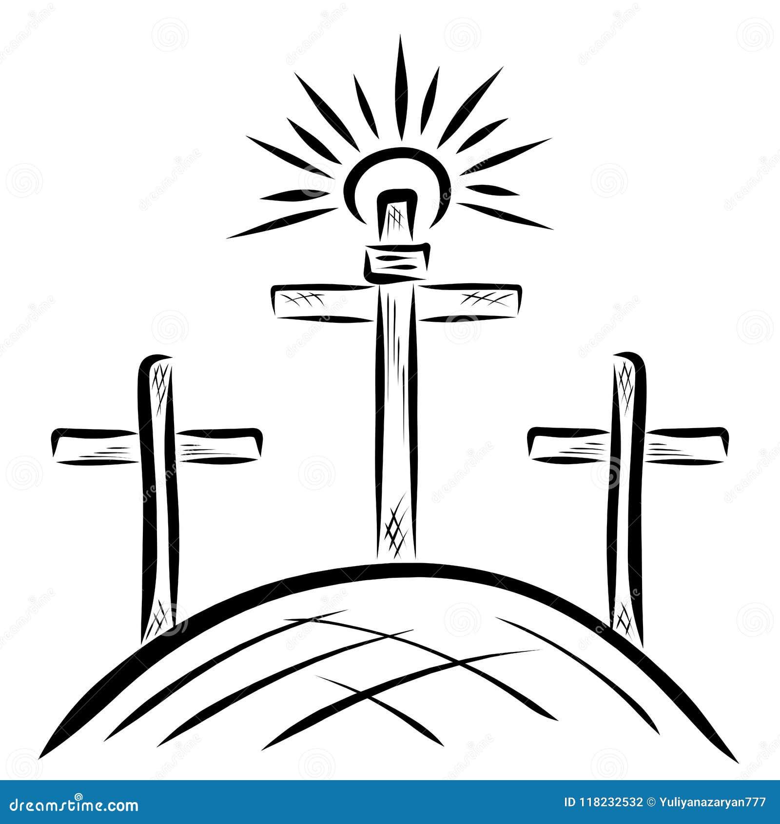 Tres cruces en el Calvary y el sol