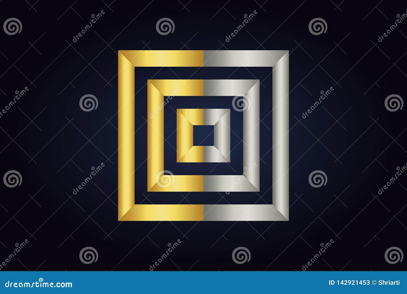 Tres cuadrados dentro de uno a Cuadrados en plata y colores oro