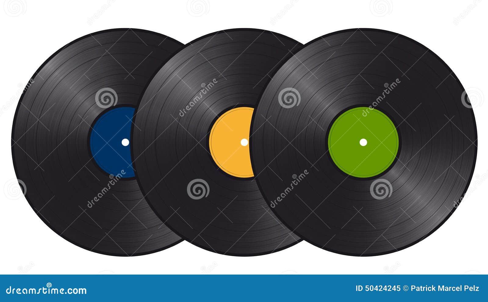 Tres discos de vinilo