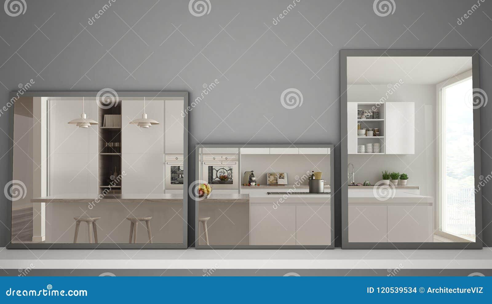 Tres espejos modernos en el estante o el escritorio que refleja la escena del diseño interior, cocina moderna contemporánea, arqu