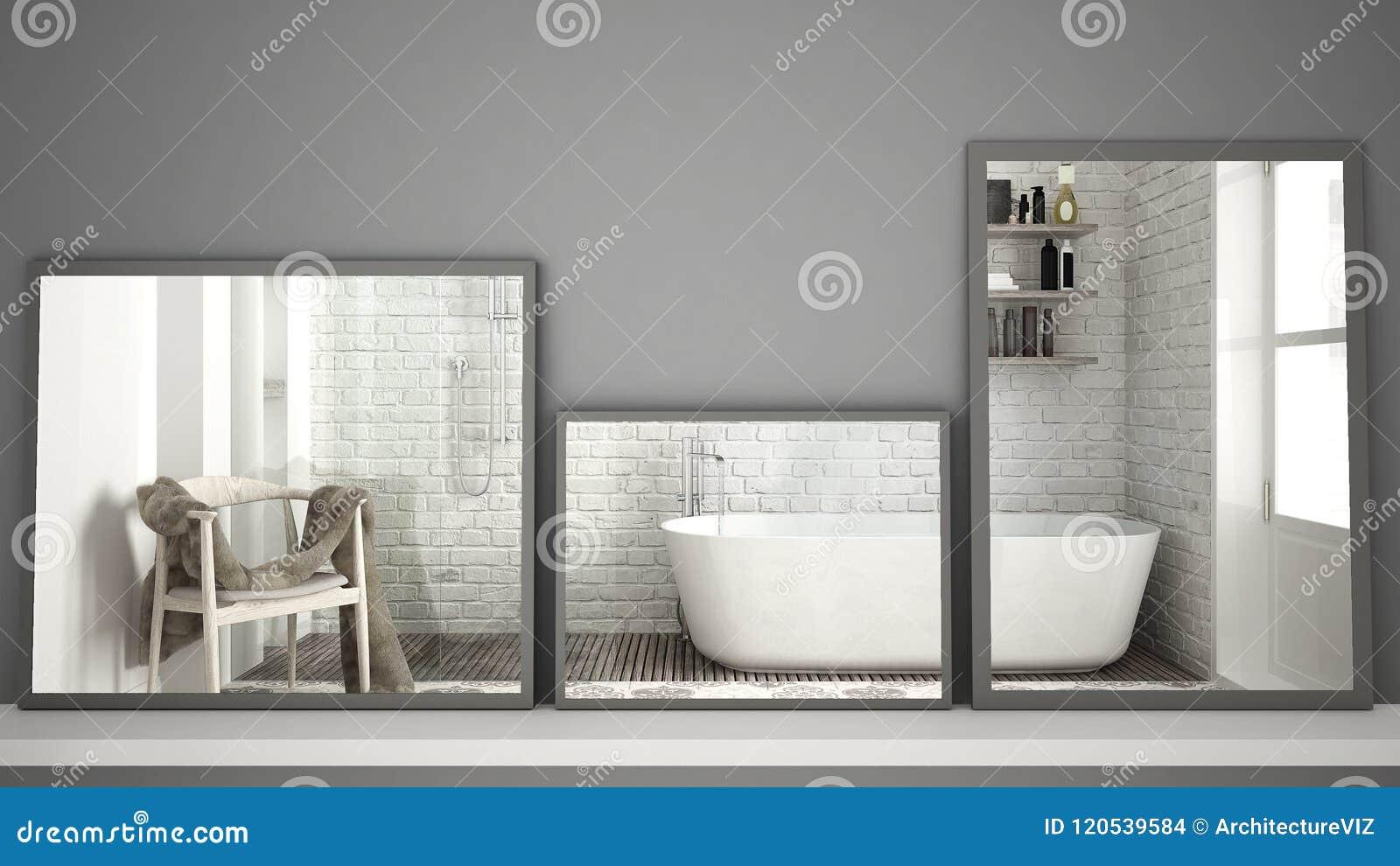 Tres espejos modernos en el estante o el escritorio que refleja la escena del diseño interior, cuarto de baño clásico escandinavo