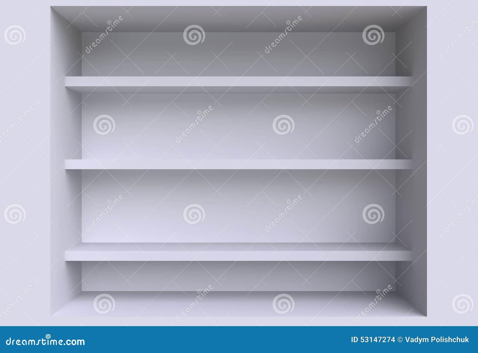 Tres estantes en la pared stock de ilustraci n imagen - Estantes para pared ...