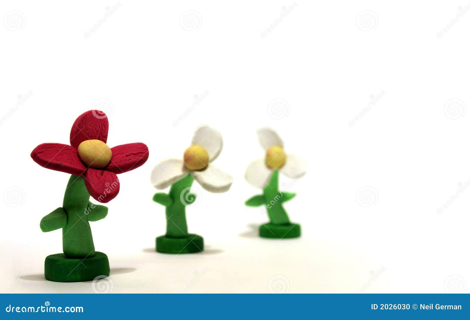 Tres flores del Plasticine