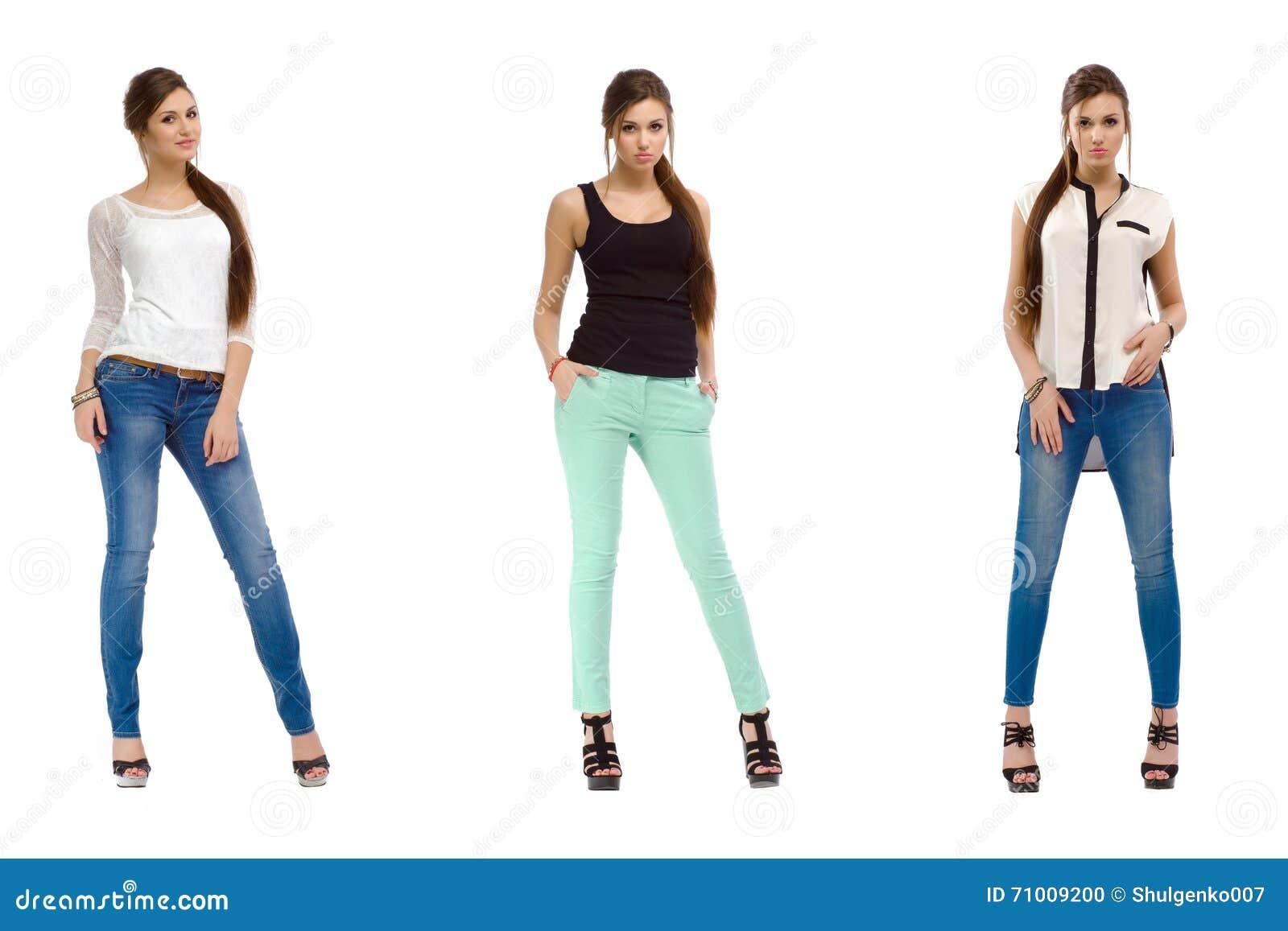 Tres fotos de una muchacha hermosa de la moda casual joven