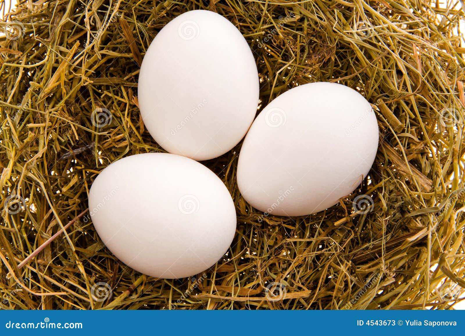 Tres huevos blancos en una jerarquía