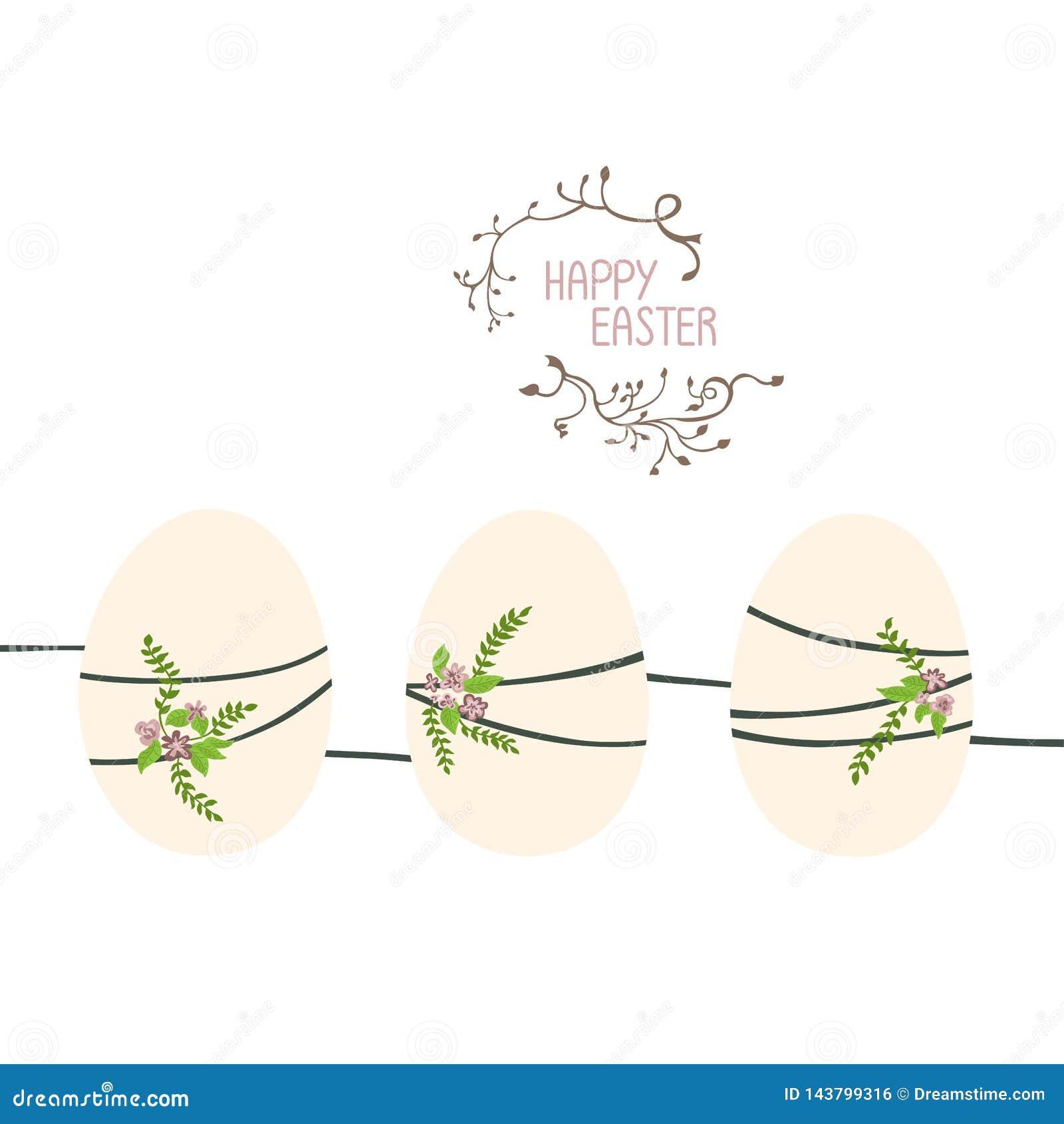 Tres huevos de Pascua en fila y conectado por un hilo