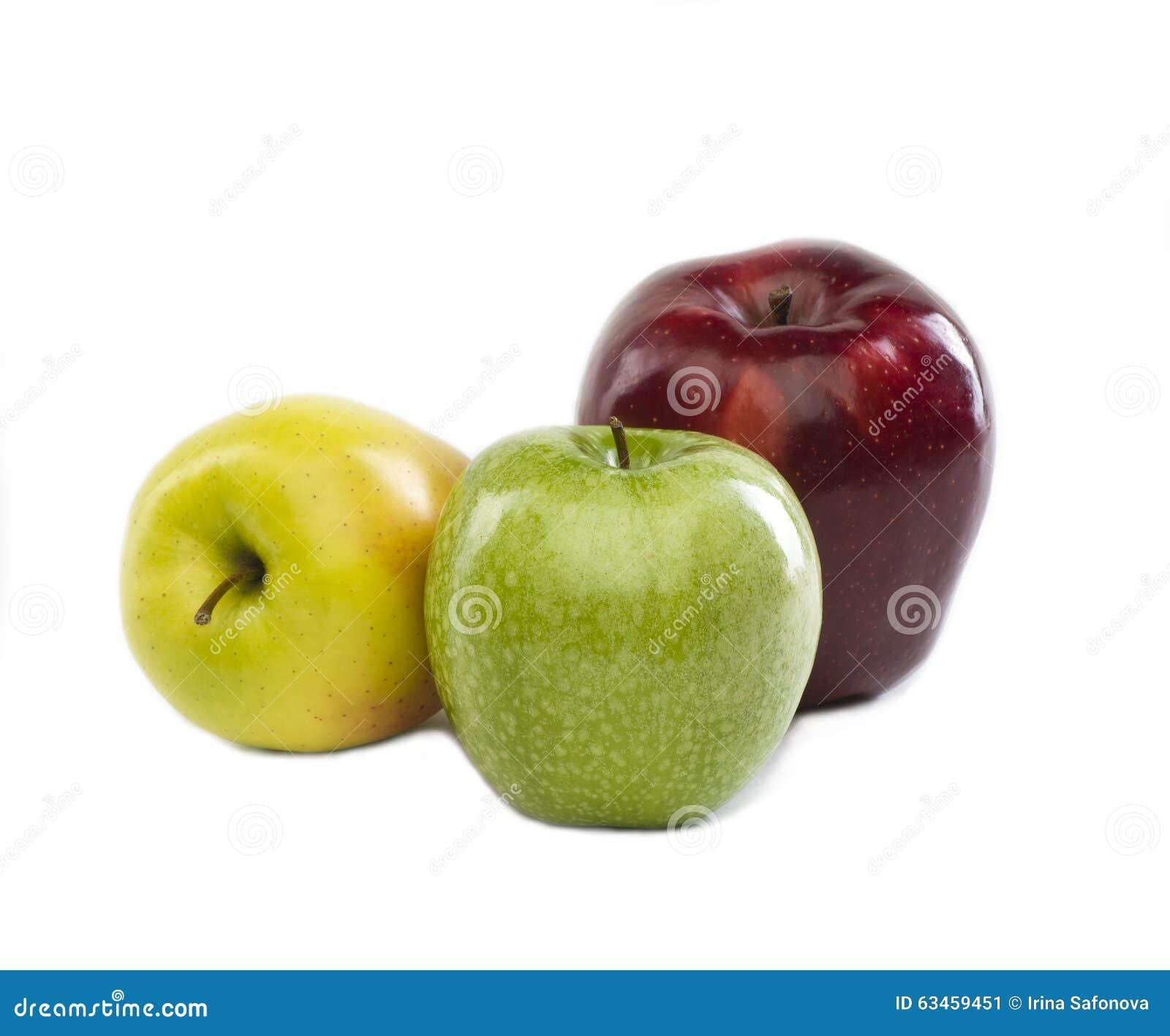 Tres Manzanas De Diversos Colores Imagen de archivo - Imagen de ...