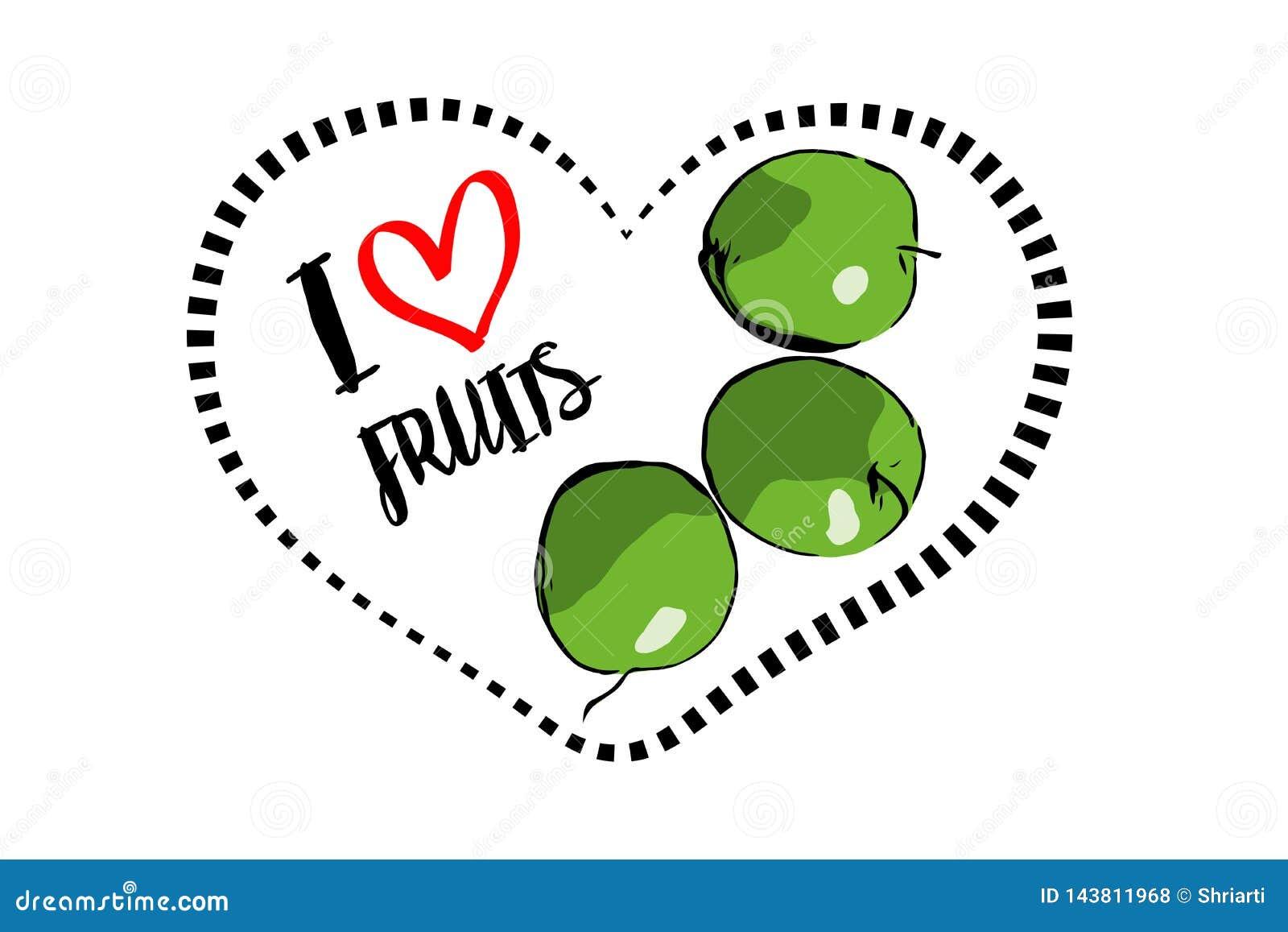 Tres manzanas verdes exhaustas de la historieta dentro del corazón aislado en el fondo blanco