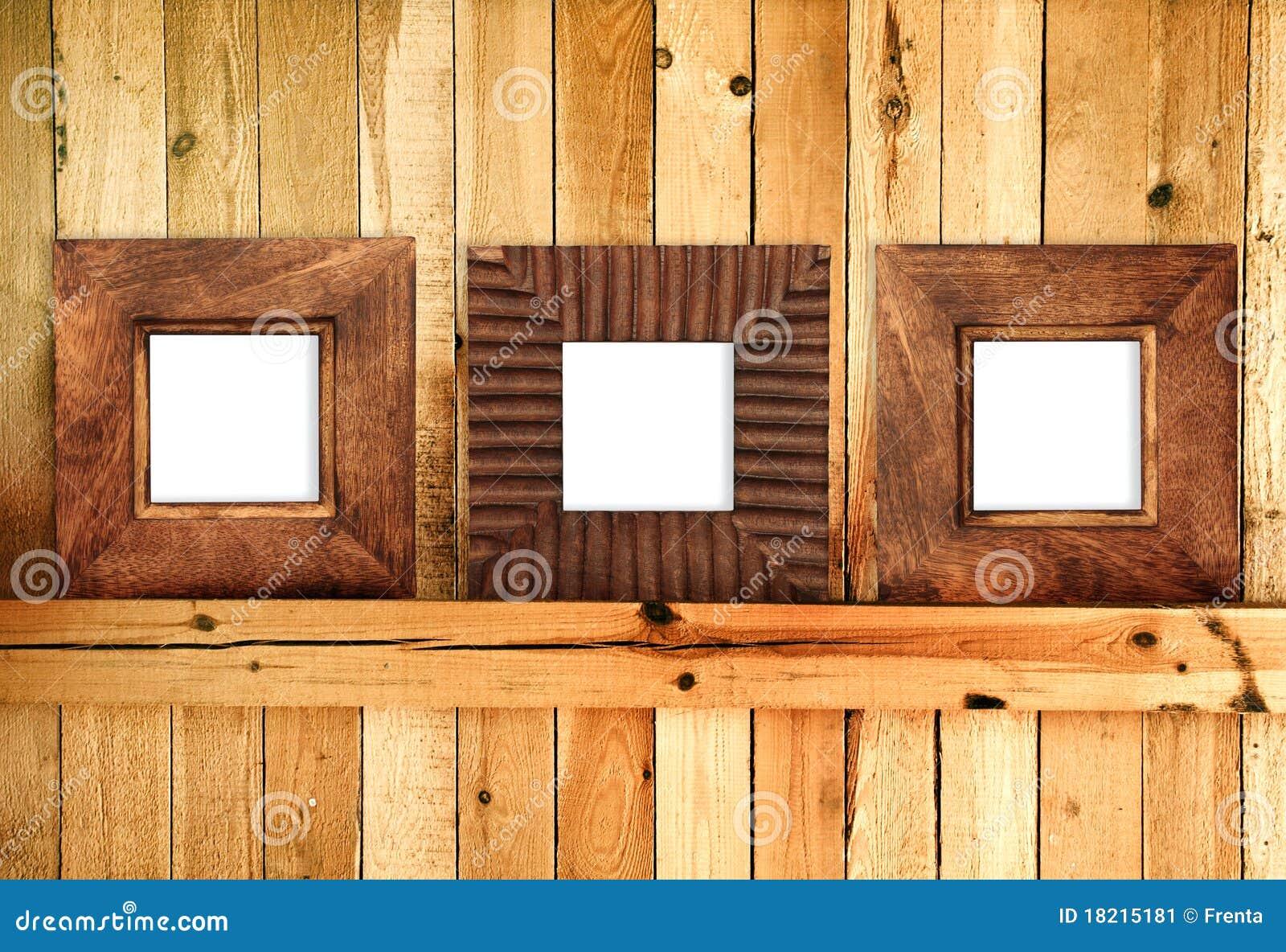 Tres marcos de madera imagen de archivo imagen de - Marcos fotos madera ...