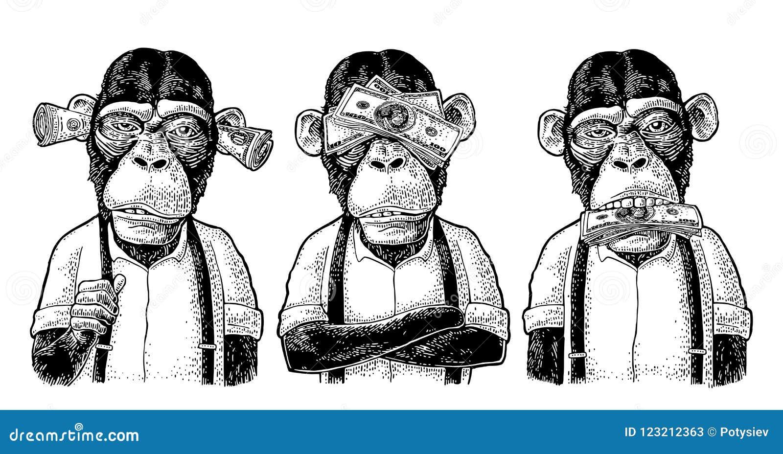 3 Monos Sabios Tatuajes tres monos sabios no ver, no oír, no hablar grabado del