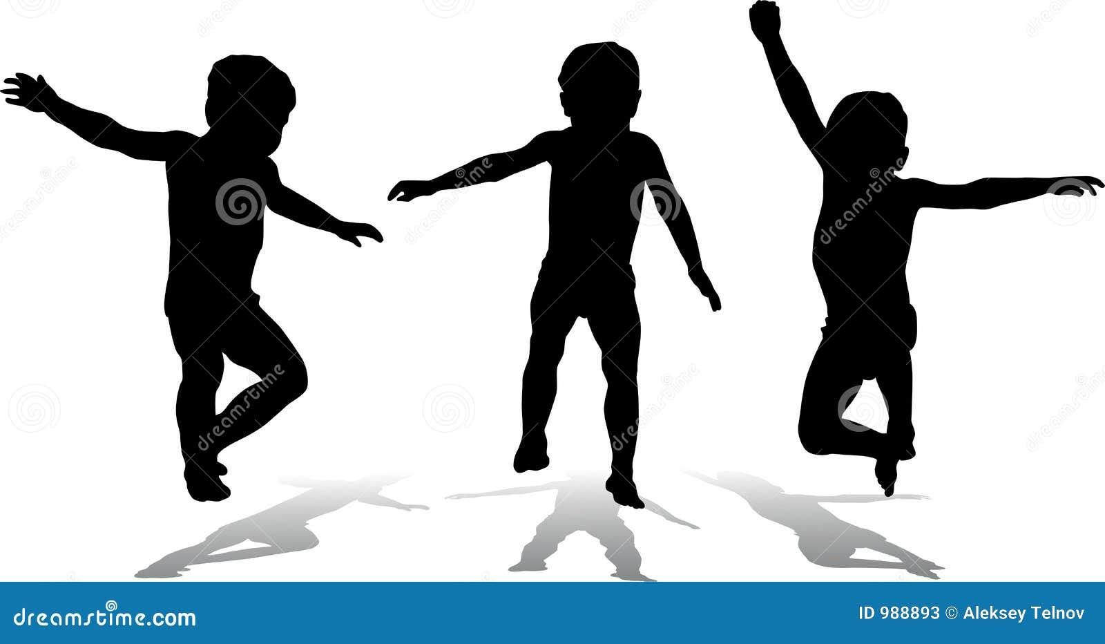 Tres niños de salto, vector