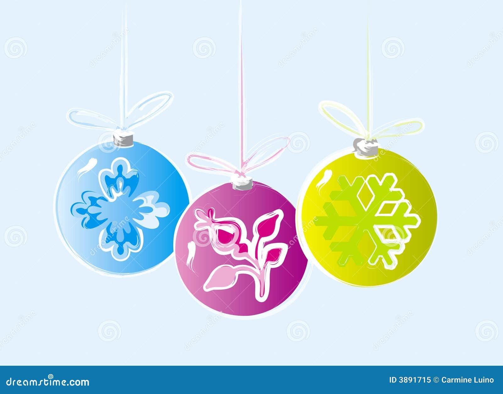 Tres ornamentos de la navidad foto de archivo libre de - Ornamentos de navidad ...