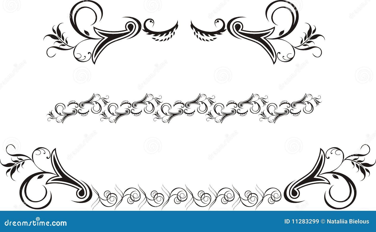 287249ebe6fa0 Tres Ornamentos Decorativos Para El Marco Ilustración del Vector ...