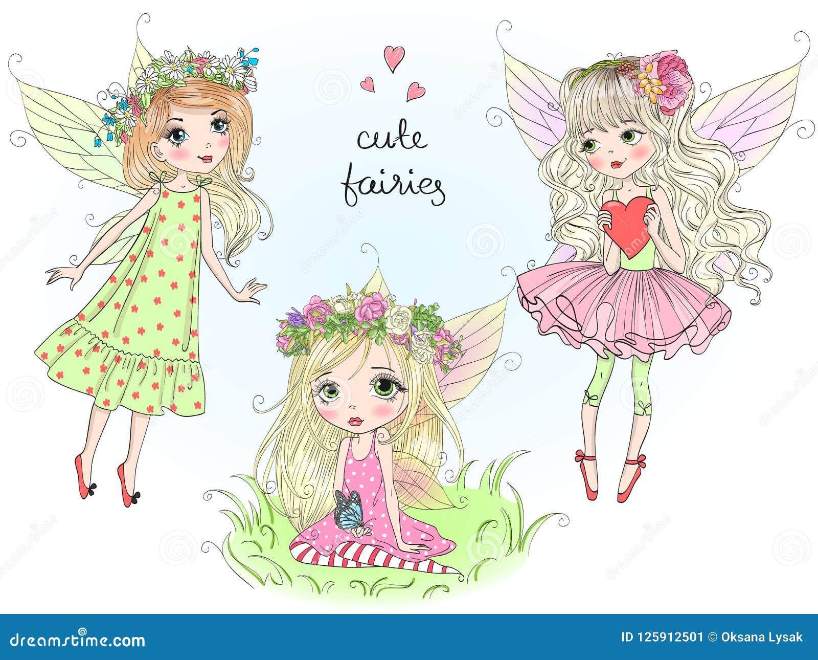 Tres pequeñas muchachas lindas hermosas de las hadas con la mariposa se van volando Ilustración del vector