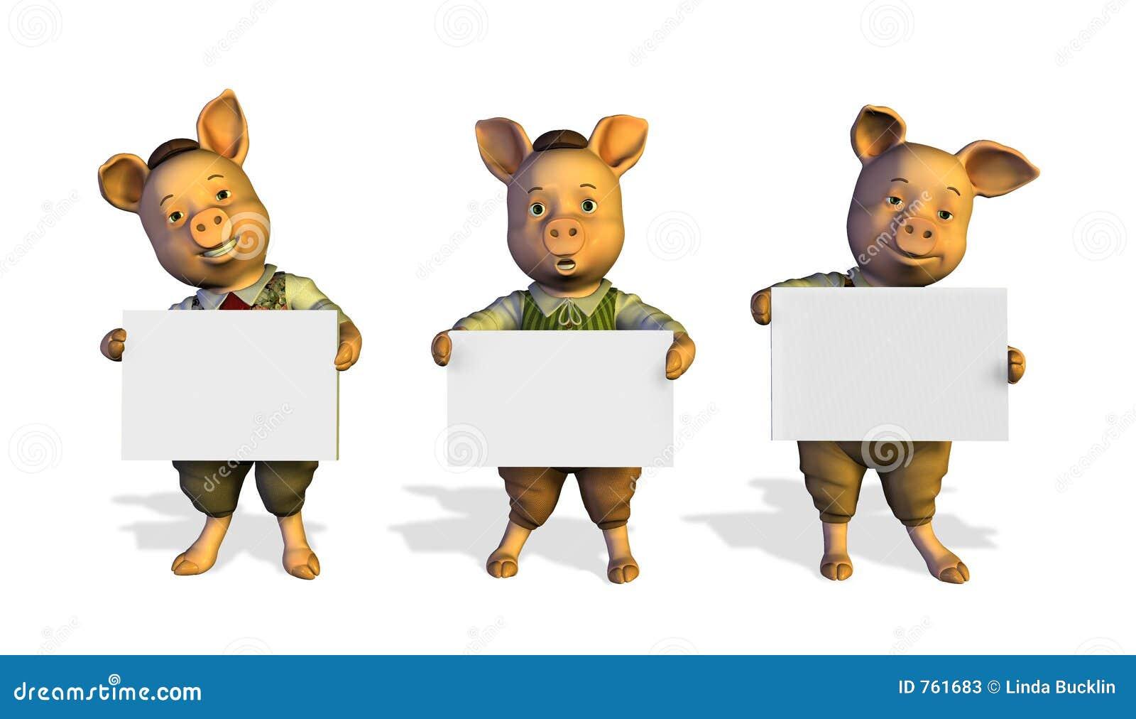 Tres pequeños cerdos que llevan a cabo muestras - con el camino del clip