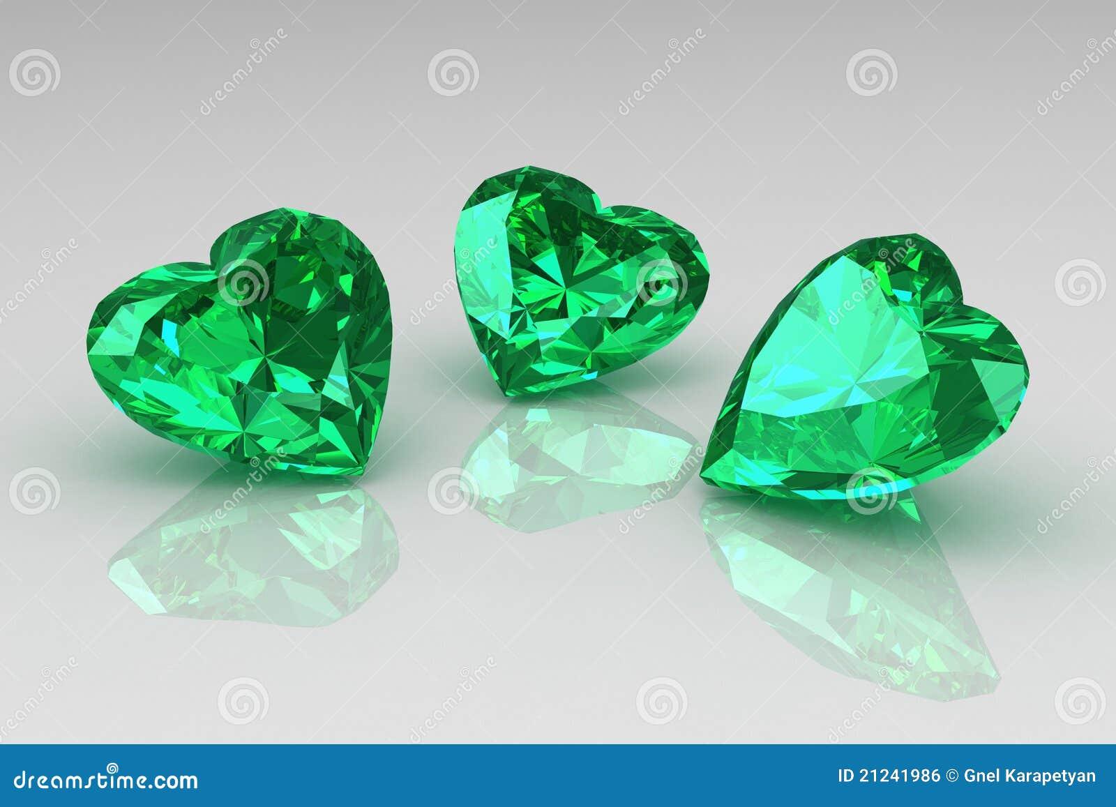 Tres Piedras Preciosas De La Esmeralda Del Verde De La Dimensión De ...