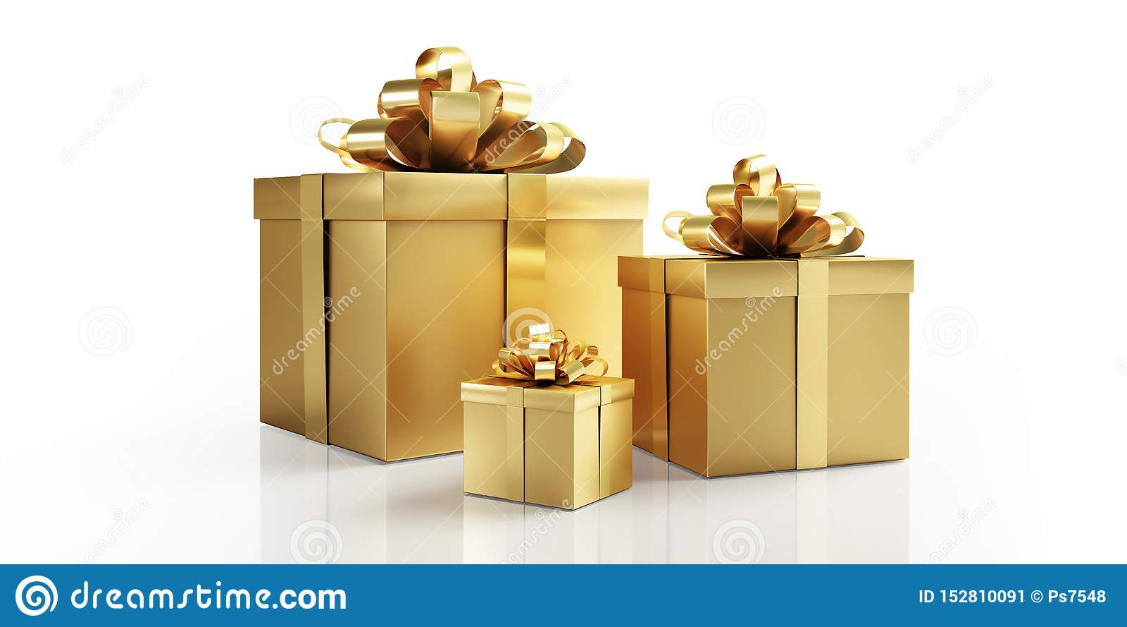 Tres presentes de oro con el arco de oro
