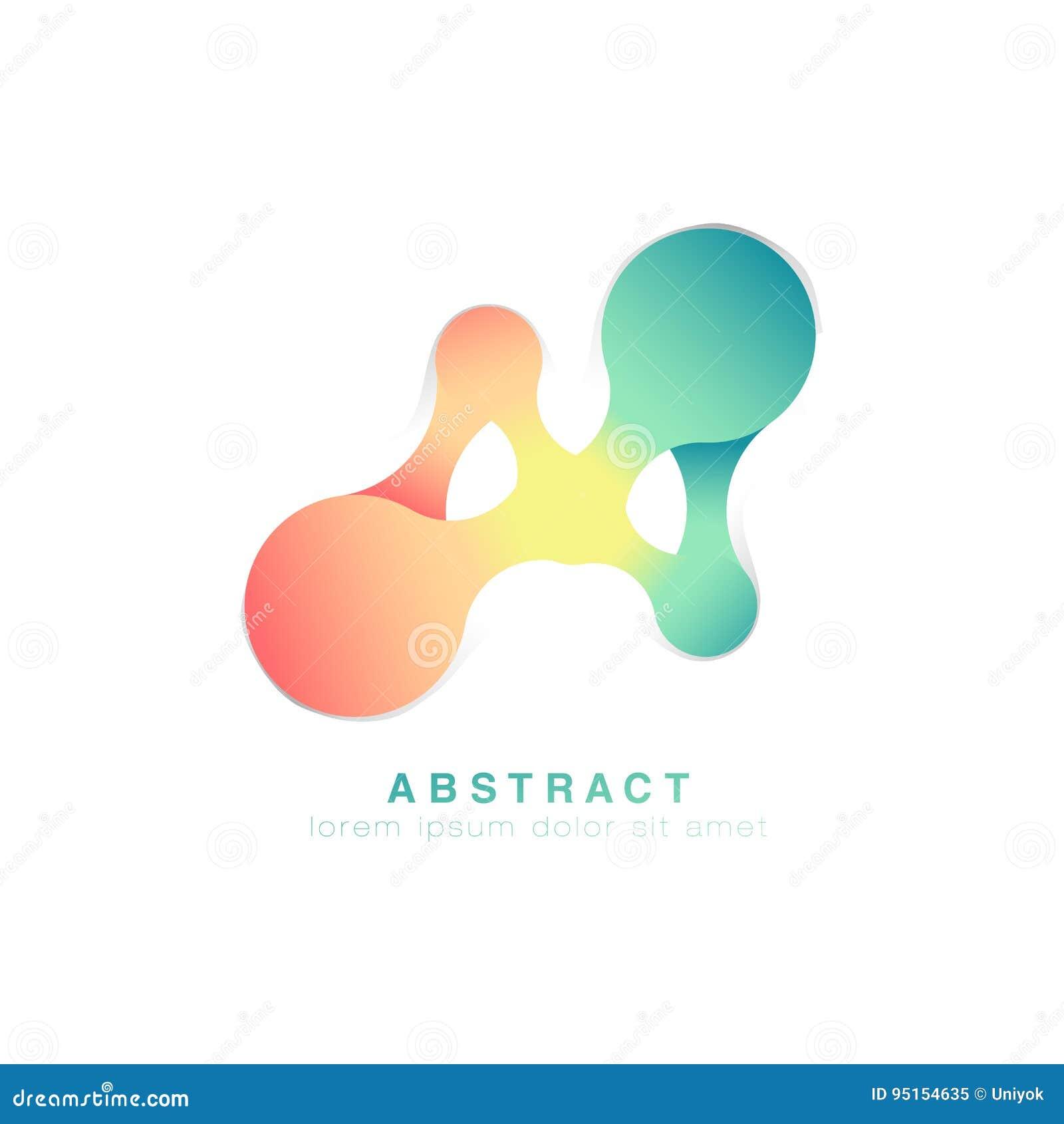 Tres puntos están conectados Insignia abstracta Logotipo verde y rosado infinito Vector