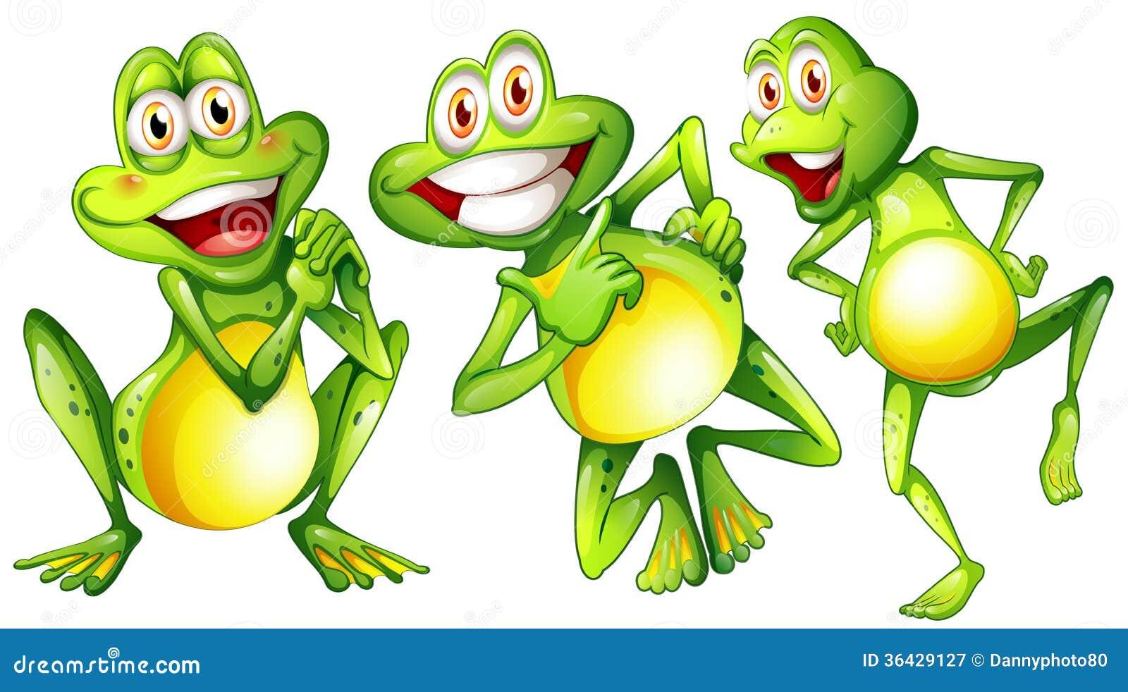 Tres Ranas Sonrientes Stock De Ilustración. Ilustración