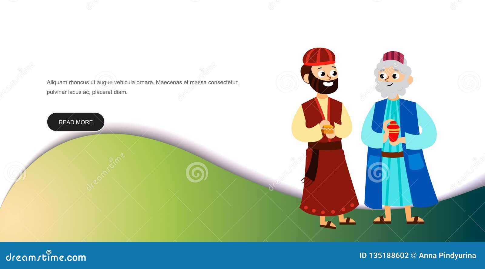 Tres Reyes Mágicos De Los Personajes De Dibujos Animados De Oriente