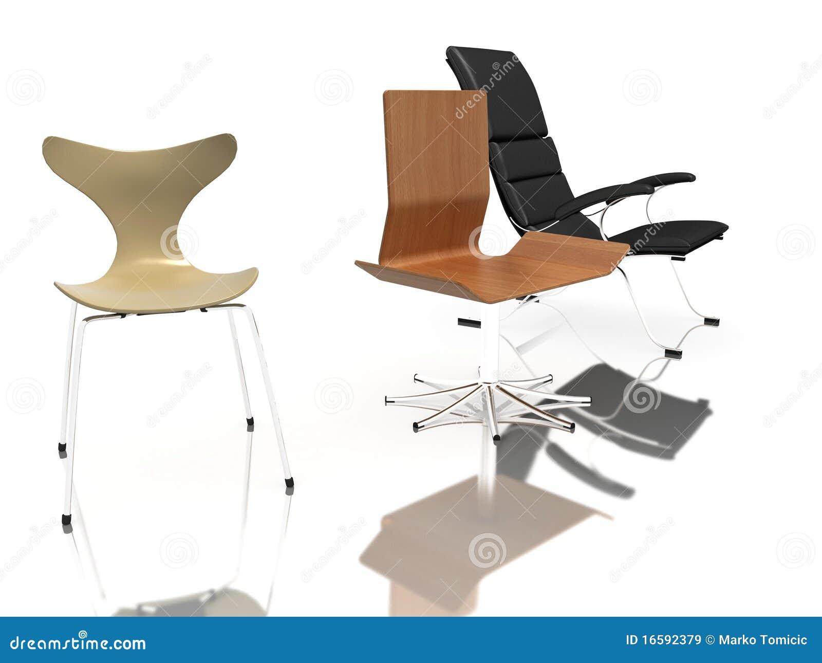 Tres sillas modernas im genes de archivo libres de for Sillas rojas modernas