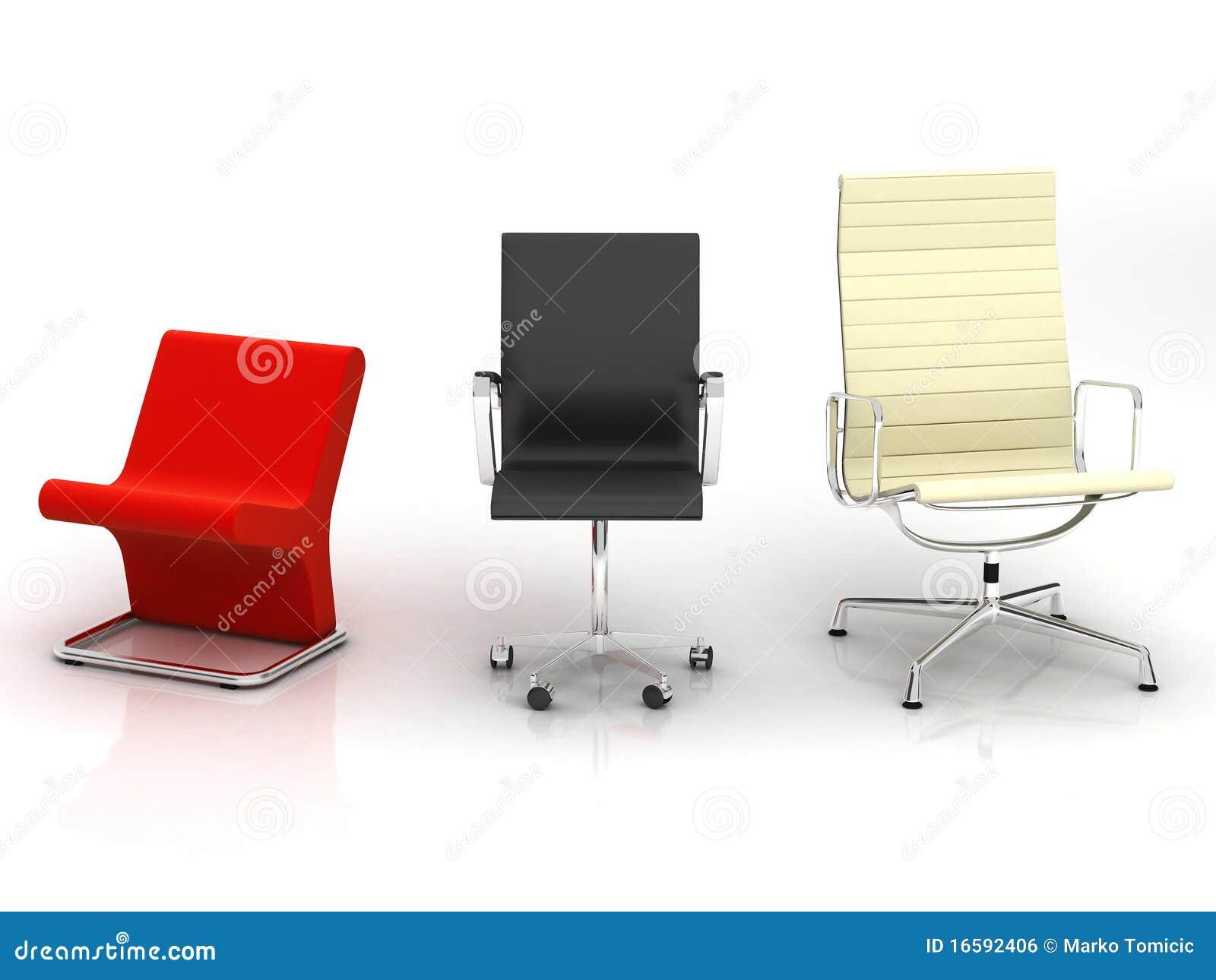 Tres sillas modernas imagen de archivo libre de regal as for Sillas rojas modernas