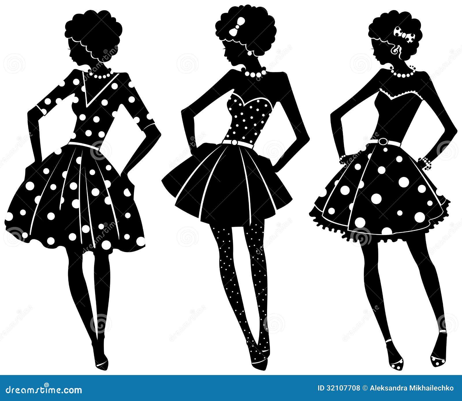 Tres siluetas de mujeres fotos de archivo libres de for Ladeblok wit 3 lades