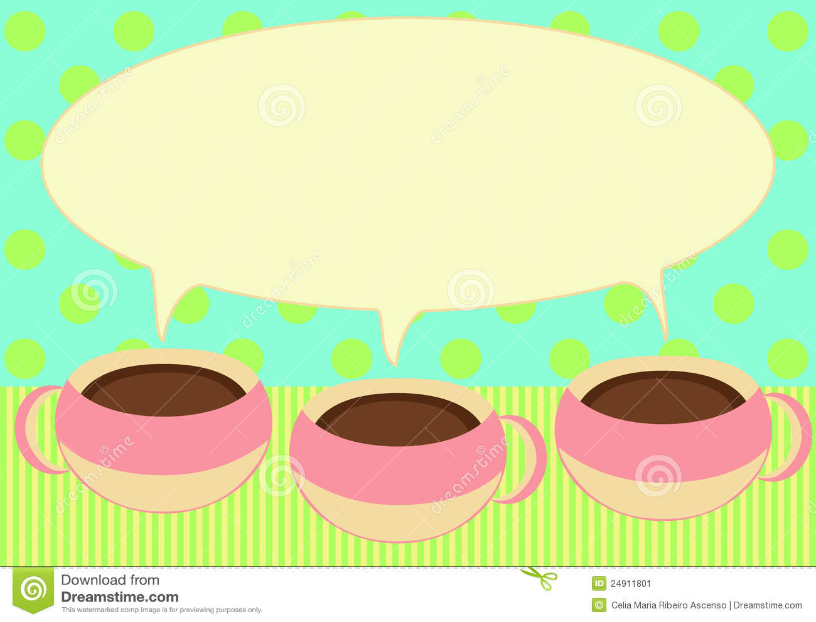 Tres Tazas De Café Que Hablan La Tarjeta De La Invitación ...