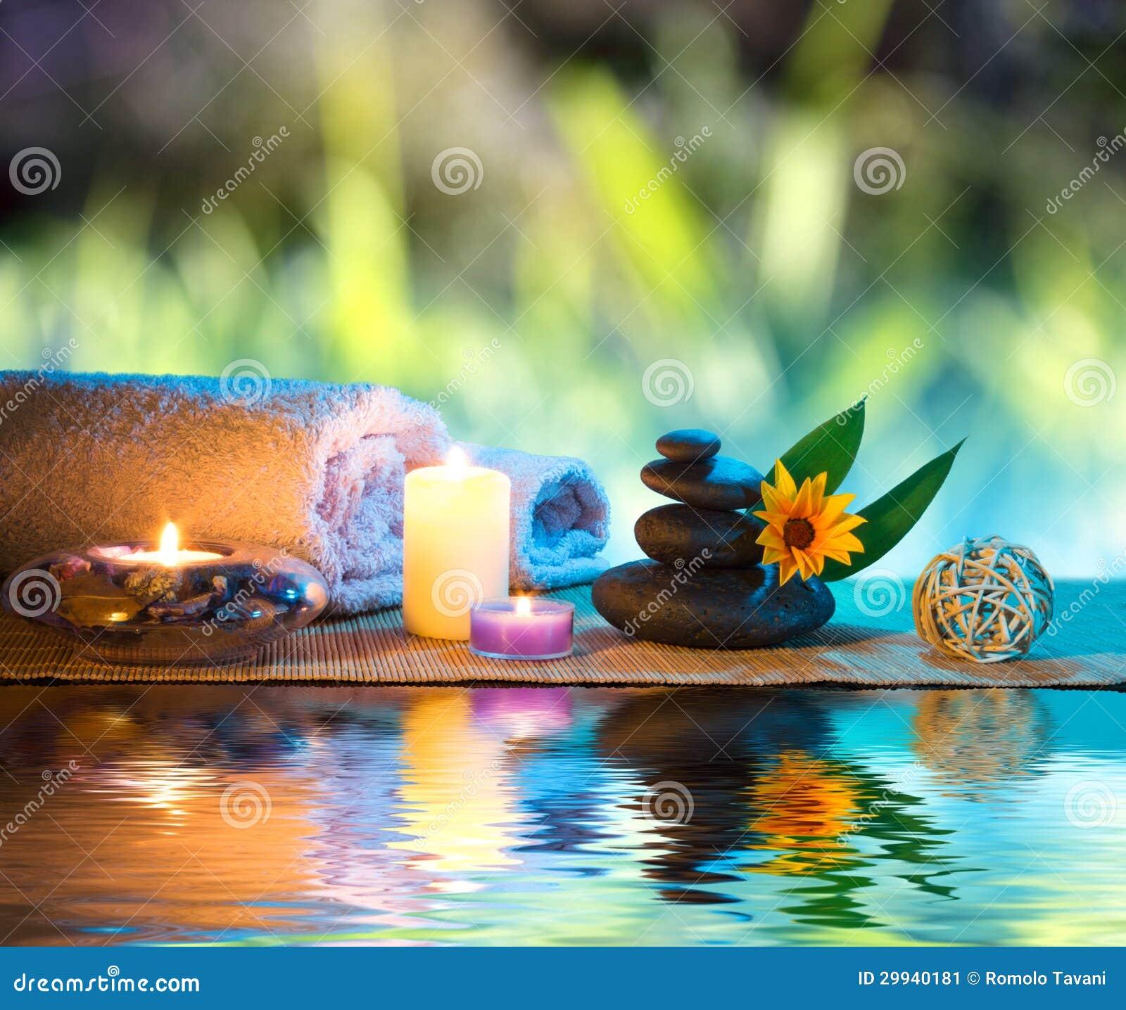 agua margarita masaje piedras toallas velas