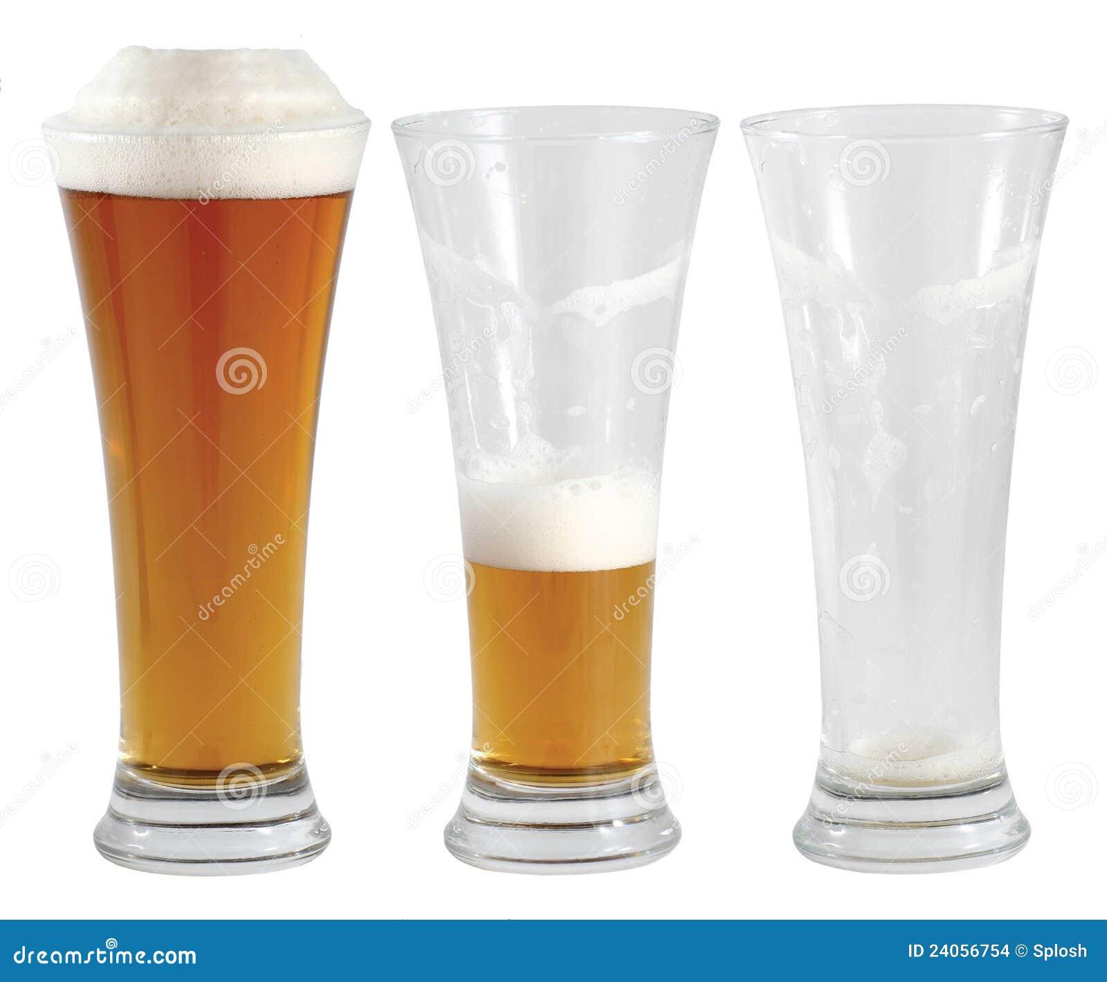 Tres vidrios de cerveza