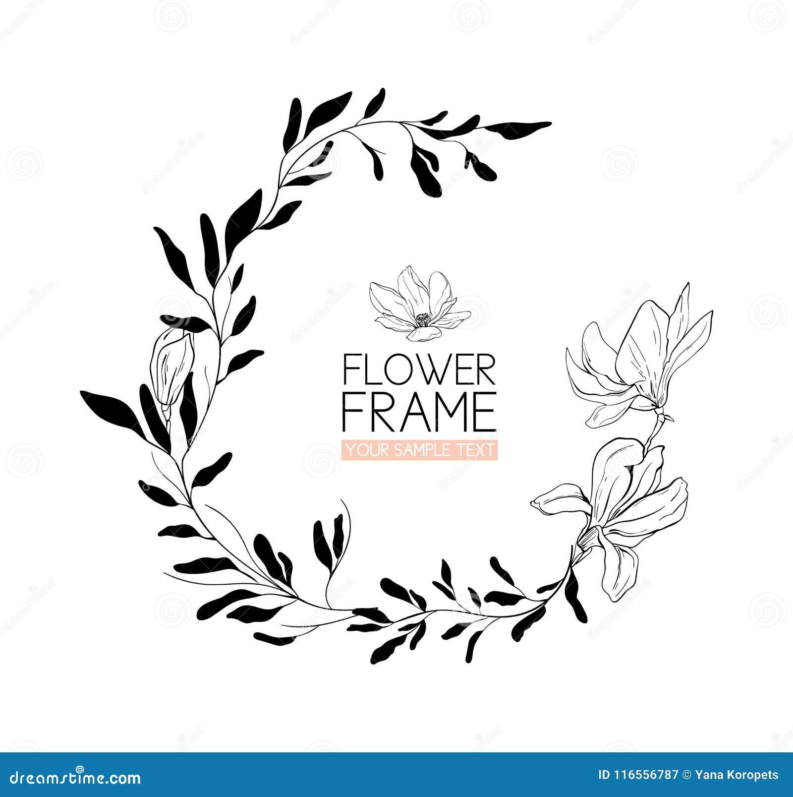 Tressez Le Dessin Et Le Croquis De Fleur De Magnolia Avec Le
