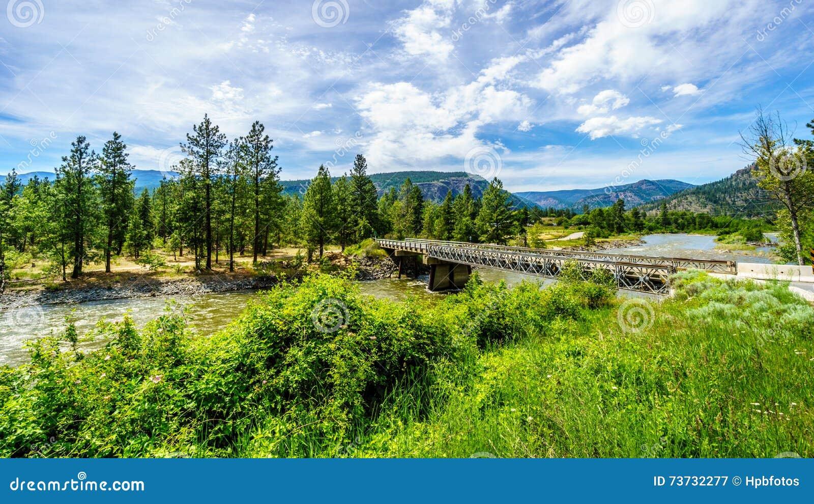 Trestle Bridge over the Nicola River as it flows along Highway 8