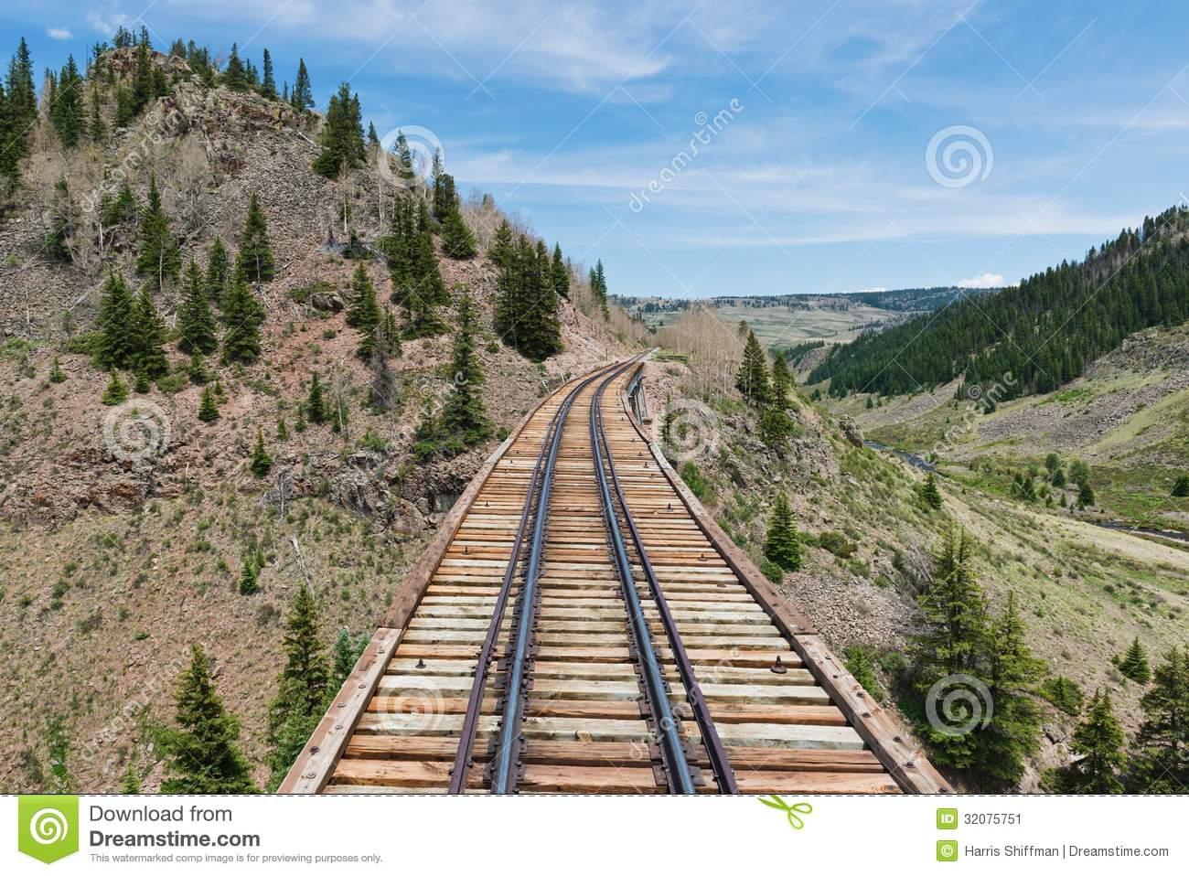 Wooden railroad trestle in southern Colorado.