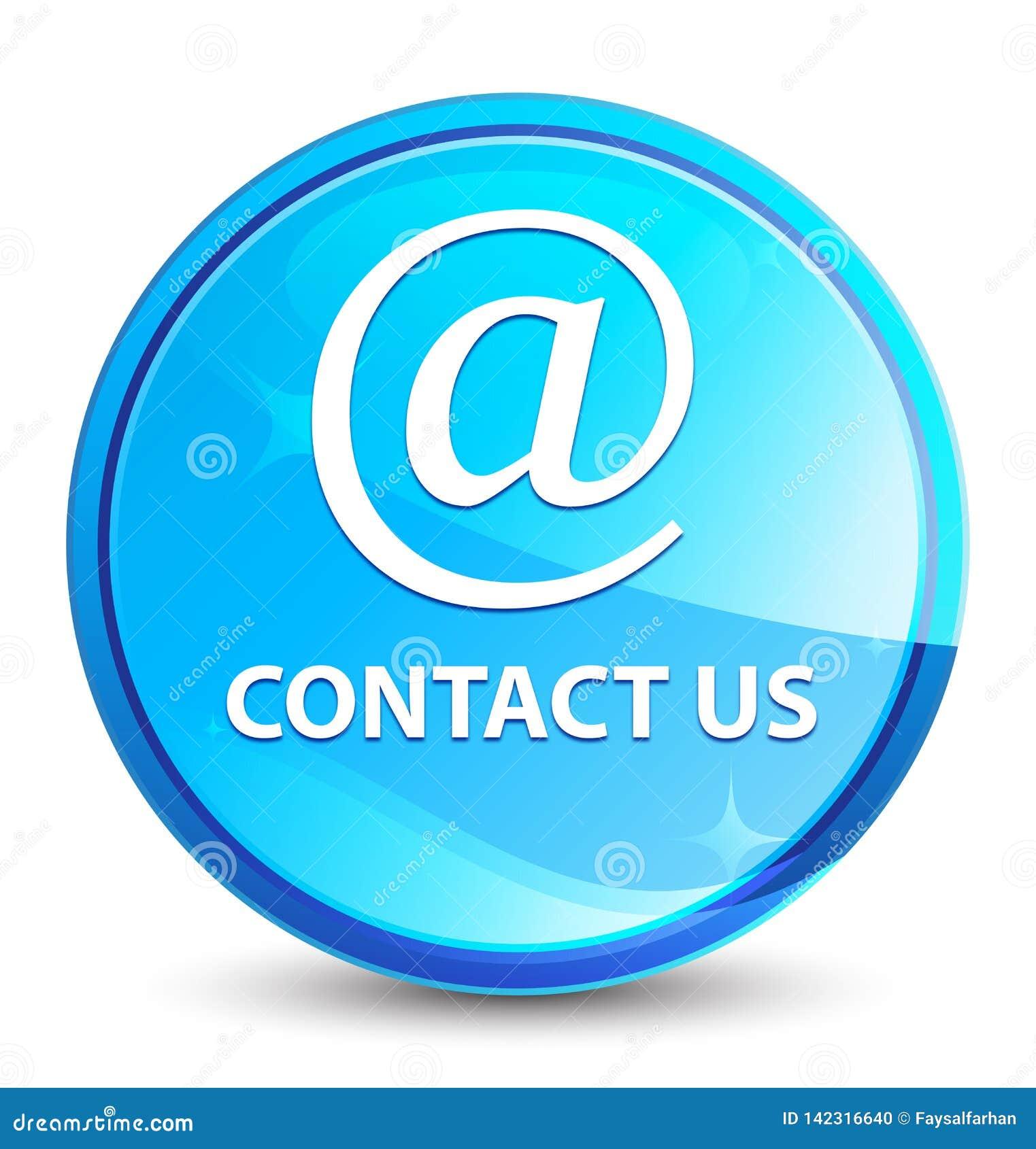 Treten Sie mit uns natürlicher blauer runder Knopf (des E-Mail-Adresse Ikonen) Spritzens in Verbindung