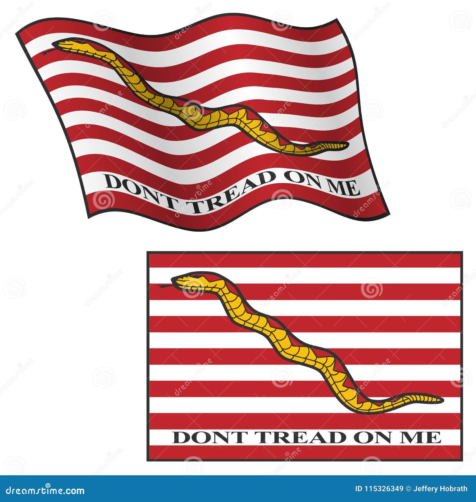 Treten Sie nicht auf mir Flagge und wellenartig bewegen und flach, Vektor-Grafik-Illustration