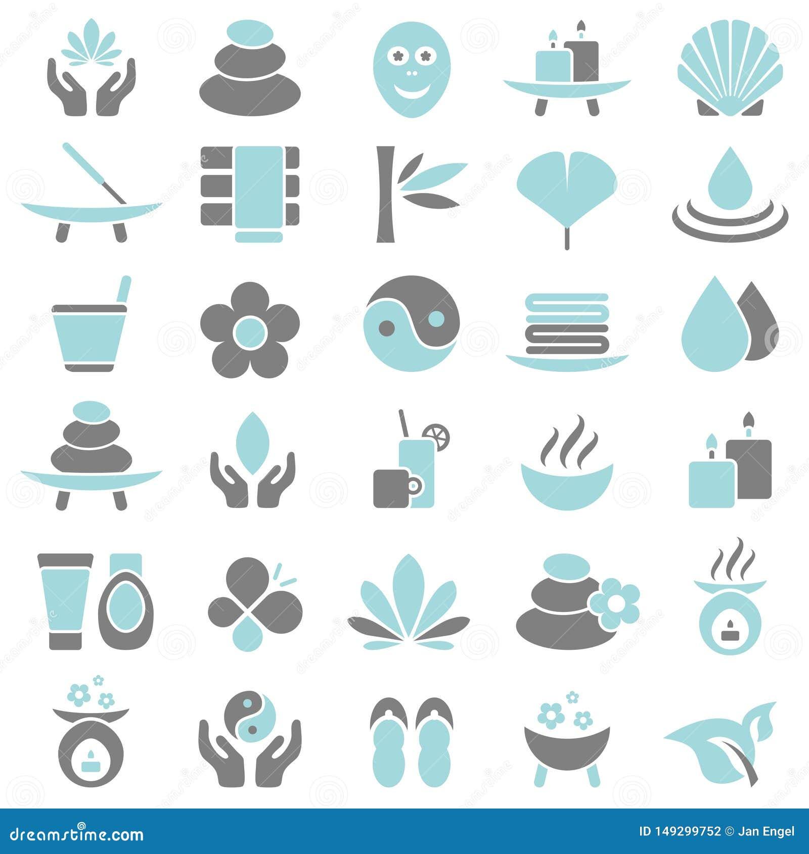 Trettio gr?a Wellnesssymboler som ?r bl?a och