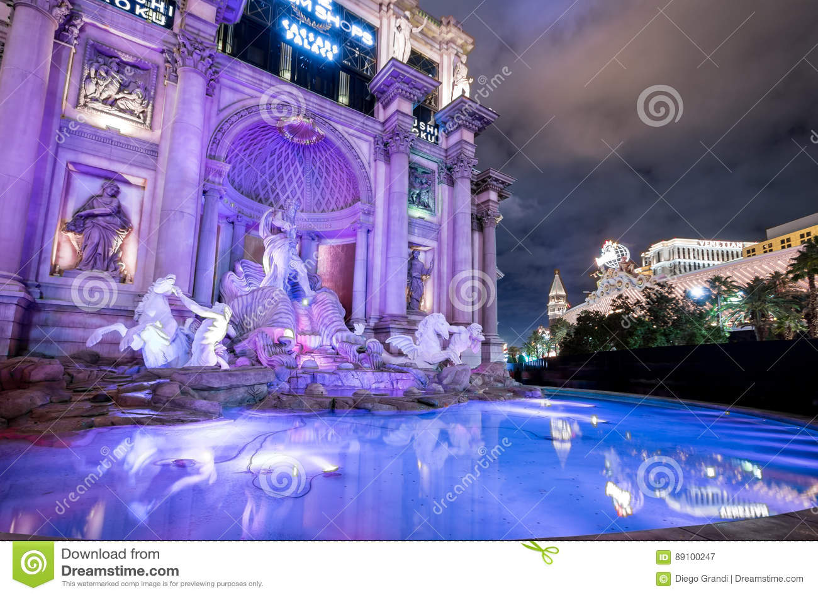 Trevi Fountain replica at Caesars Palace Hotel and Casino at night - Las Vegas, Nevada, USA