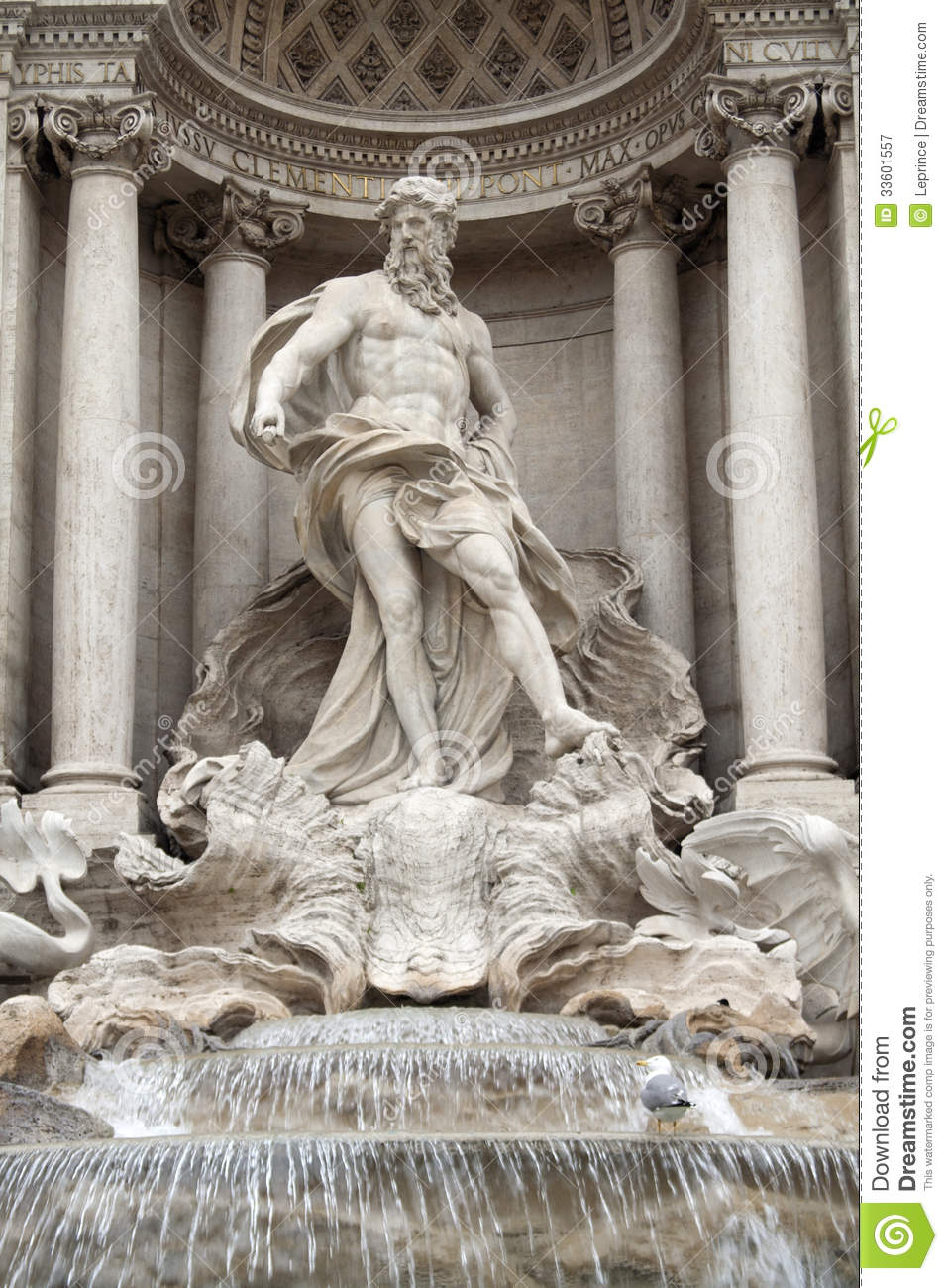 Trevi Fountain Statue Of Oceanus Stock Image Image Of